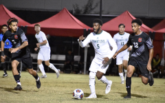 Jhared Willcot moves the ball upfield against CSU Northridge in a 2-2 tie for the Hornets at Matador Soccer Game Field on Oct. 6, 2021. Willcot had one shot on goal in Wednesdays tie.