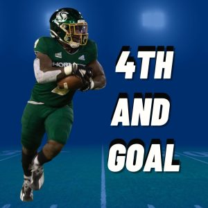 Photo of Sac State sophomore running back Marcus Fulcher (9) taken by Ayaana Williams. Graphic made in Canva by Alex Muegge & Mercy Sosa