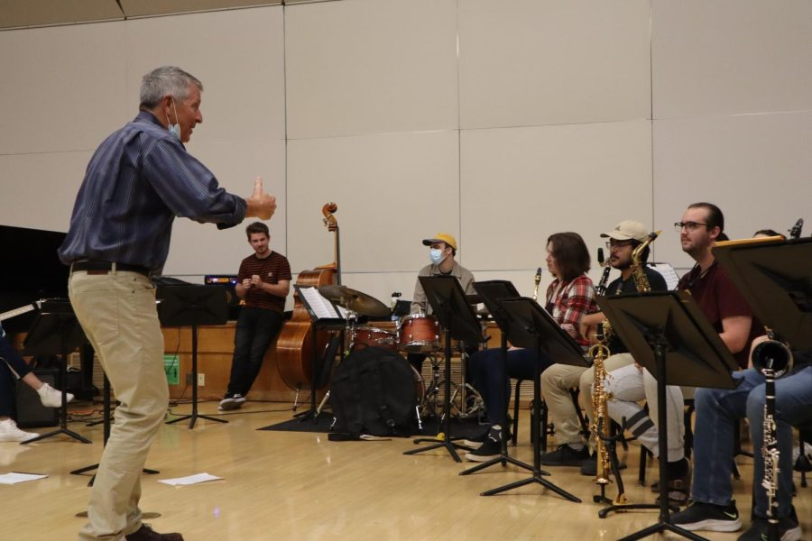 Sacramento State's intermediate jazz ensemble rehearsing for an upcoming concert on Tuesday, Oct. 12, 2021. The intermediate and advanced ensembles will be performing in Capistrano Hall on Thursday, Oct. 14.