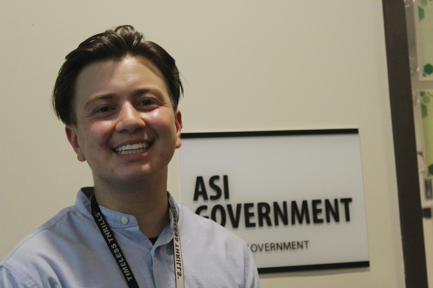 Ezra Cabrera smiles in front of the ASI Government office on September 21 2021. Cabrera plans to make a lasting impact as Director of Graduate Studies and help the communities that he intersects.