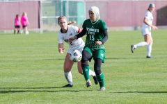 Sacramento State freshman forward Danna Restom fighting for possession against the defense Friday, Oct. 1, 2021, at South Campus Stadium. The Hornets were defeated by Northern Colorado 2-0 on Sunday as they fell to 0-3 in conference play.