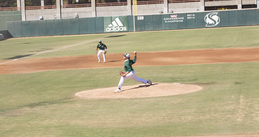 Sac State sophomore pitcher Eli Saul throws at John Smith Field for the Hornets on Saturday, Oct. 16, 2021, in a scrimmage against Cal. Saul made 16 appearances in the 2021 season including 13 starts.